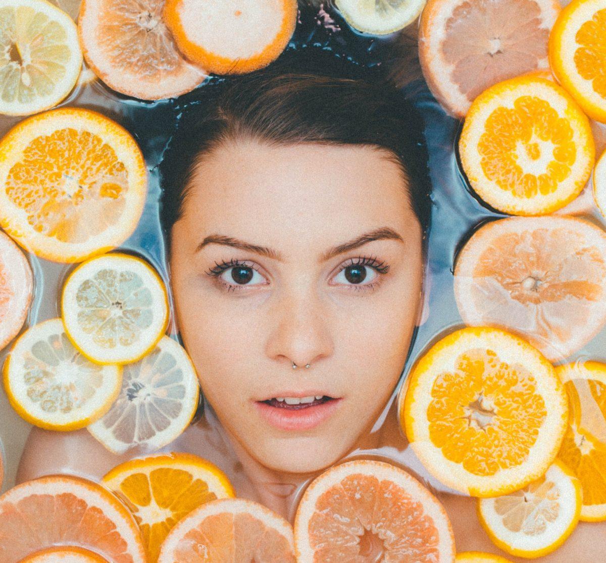 woman in a citrus bath